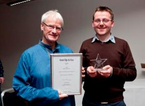 LGBT Age volunteers Simon and David with Get Up  Go Award and Certificate