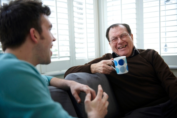 older person chatting