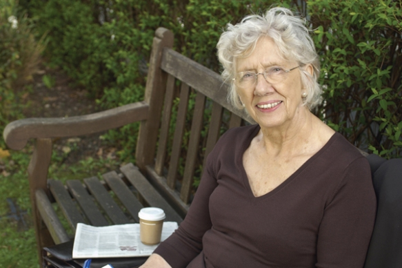 Lady on park bench