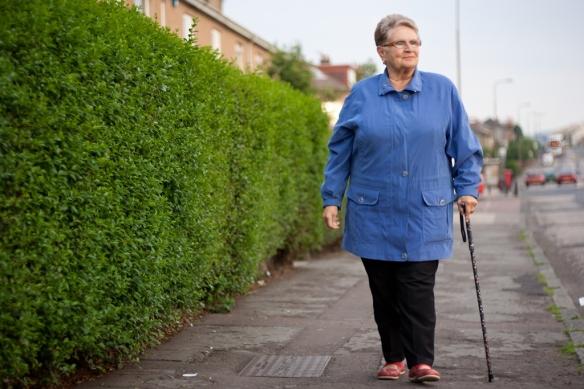 Lady walking down street