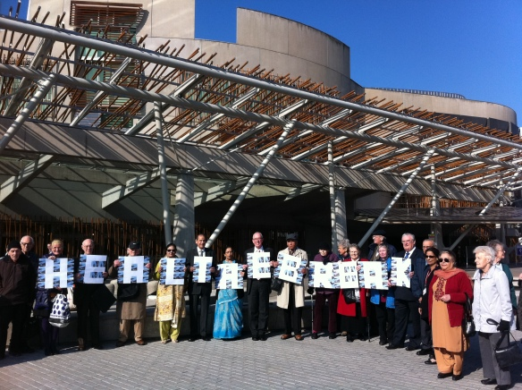 Campaigners at the Scottish Parliament
