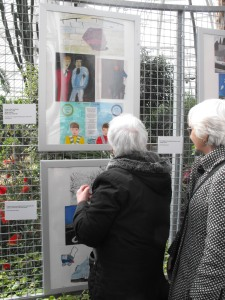 Visitors and artists enjoying the exhibition