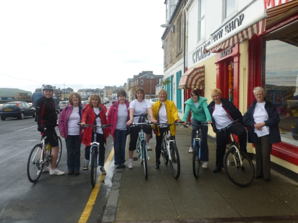 Ladies from Age Scotland line up for their sponsored cycle