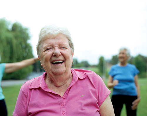 Older ladies exercising