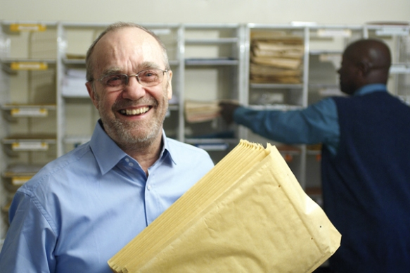 Man with envelopes