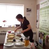 Preparing vegetarian food.