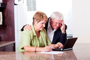 Senior couple worry about money