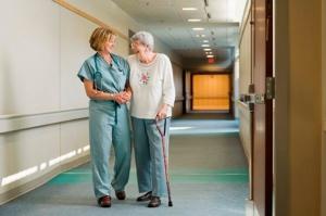 Nurse helps woman