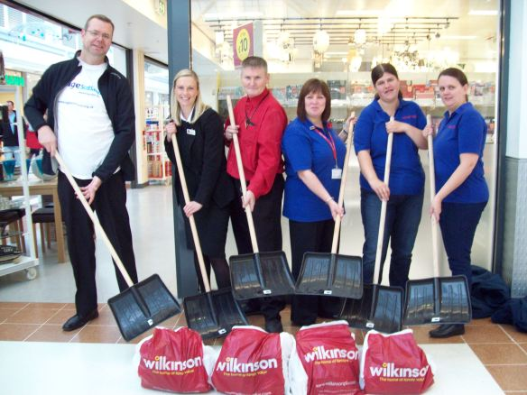 Wilkinson Livingston donate snow shovels