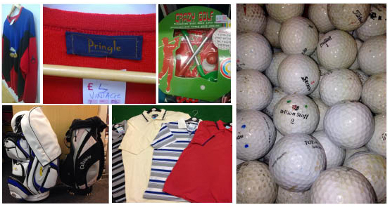 Vintage Golfing gear from Age Scotland's Charity shops