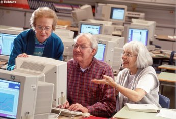 Older people on a computer
