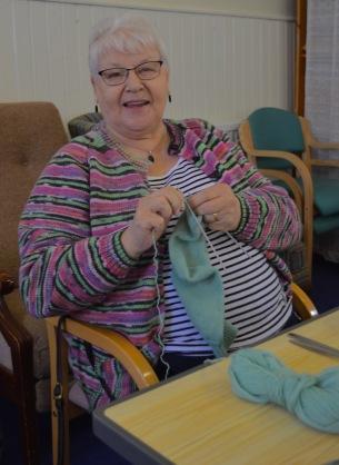 Jane knitting away