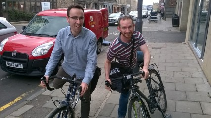 Ciaran and Greg of Age Scotland pose with their bikes - please note they were just posing for the photo, they always wear cycling helmets and NEVER cycle on the pavement!