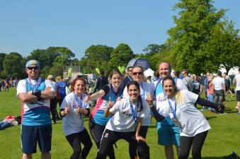 Charlotte (centre) and colleagues from Residence Inn Edinburgh who took part in the Edinburgh Marathon last weekend.