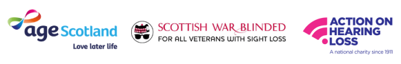 Age Scotland logo, Scottish War Blinded logo, Action on Hearing Loss logo