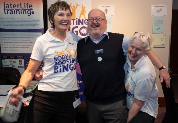 Age Scotland's Jenny and Yolanda promoting Body Boosting Bingo